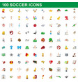 100 soccer icons set cartoon style vector image