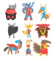 Animas Disguised As Superheroes Set Of Geometric vector image