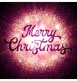 Christmas card with lettering on abstract backdrop vector image