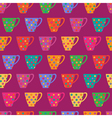 Bright seamless pattern with cups in polka dot vector image