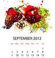 calendar with fruit for 2012 september vector image