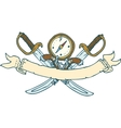 Retro Heraldic Ribbon with Sabers and Compass vector image