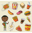 African-American Boys With Take Away Food vector image