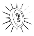 Bitcoin icon digitally lit money symbol vector image