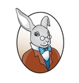 smart rabbit in glasses with bow tie vector image