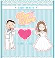wedding invitation card cute couple talking phone vector image