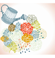 Floral background with watering can vector image vector image