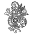 Hand draw line art ornate flower design vector image