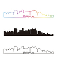 Bellevue skyline linear style with rainbow vector image