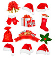 big set of red santa hats and clothing vector image