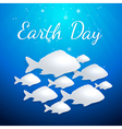Blue background with white fishes vector image vector image