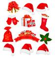 big set of red santa hats and clothing vector image