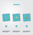 flat icons unicycle pyramid tower and other vector image