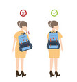 girl backpack correct posture position good for vector image