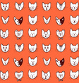 Sketch cat face seamless pattern vector image