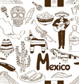 Sketch Mexico seamless pattern vector image