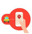 taxi call through mobile application vector image