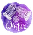 Winter text and knitted woolen mittens with vector image