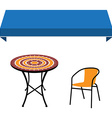 Awning table and chair vector image