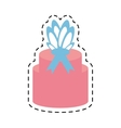 pink gift box ribbon present line dotted vector image