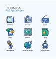 mass media - coloured modern single line icons set vector image
