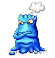 A frustrated blue monster with an empty callout vector image vector image