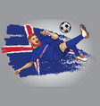 iceland football player with flag as a background vector image