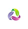 circle colorful leaf organic logo vector image