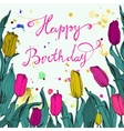 Spring card with bunch of tulips isolated on white vector image