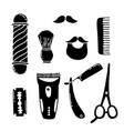 barbershop doodle icons vector image