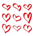 hand drawn red hearts vector image