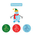 happy snowman with hat and scarf vector image