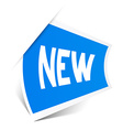 New Title on Blue Bent Sticker Isolated on White vector image