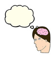 Cartoon head with brain symbol with thought bubble vector image