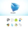 Cube 3d logo icon set vector image