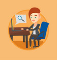 business woman working on her laptop vector image