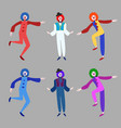 circus funny clowns collection vector image