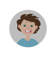 frightened emoticon scared emoji afraid smiley vector image
