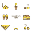 Grandmother home Set of flat line icons vector image