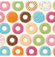 Pattern background with colorful glossy donuts vector image