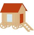wooden vintage caravan wagon flat design vector image