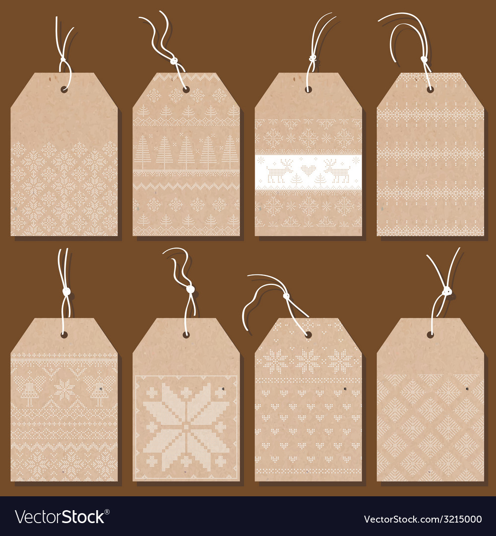 Christmas tags or labels scandinavian style vector
