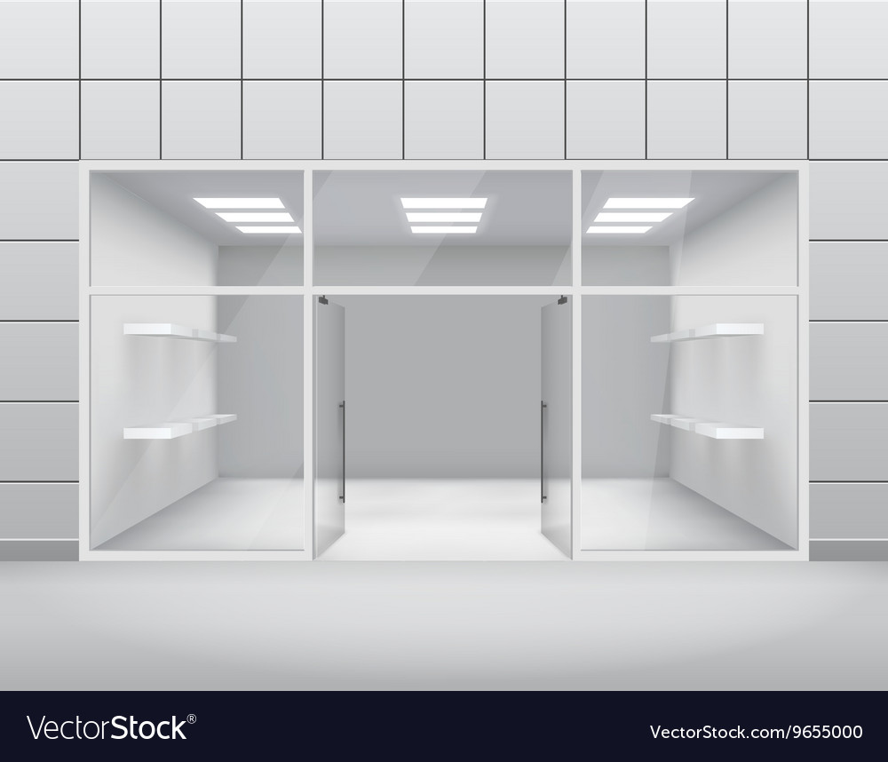 Empty shop front boutique window and open door 3d vector