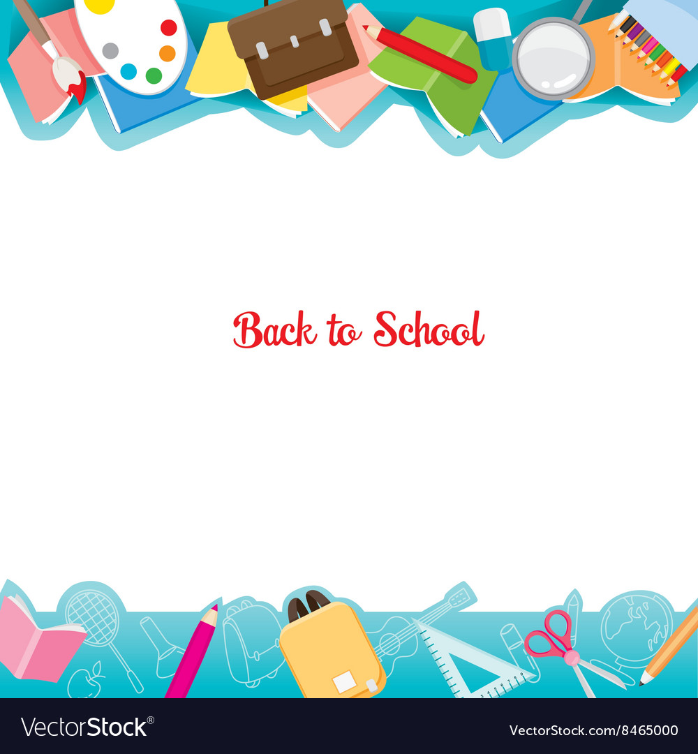 School supplies icons on frame vector