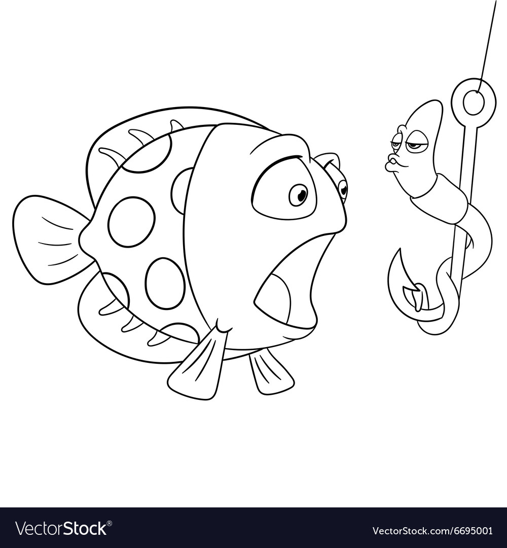 Passionate cartoon worm and surprised fish vector