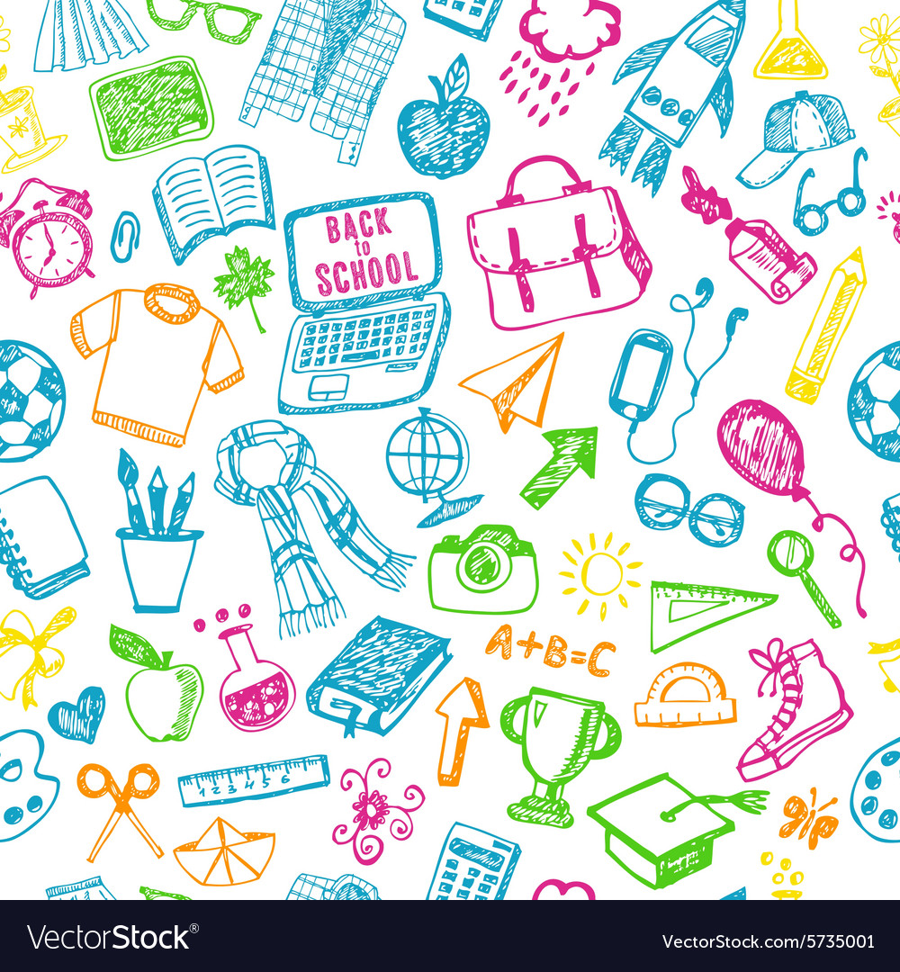 Seamless pattern of school back to school vector