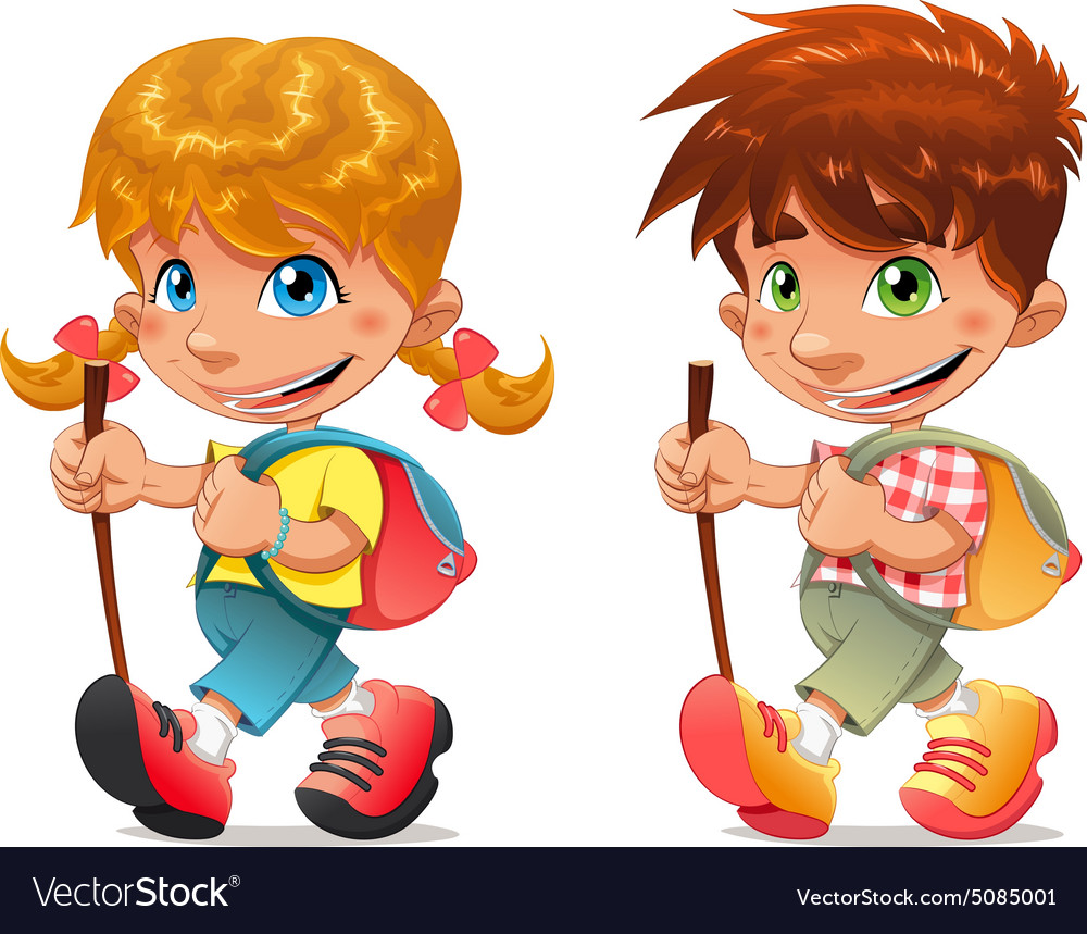 Trekking boy and girl vector