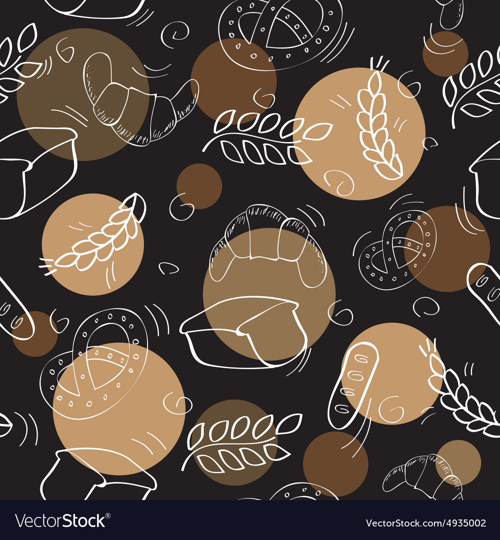 Seamless pattern with bakery products vector