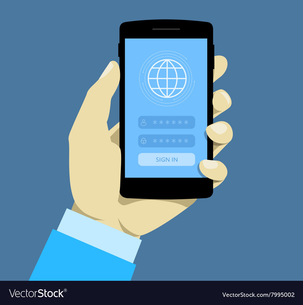Sign in page on smartphone screen hand hold vector