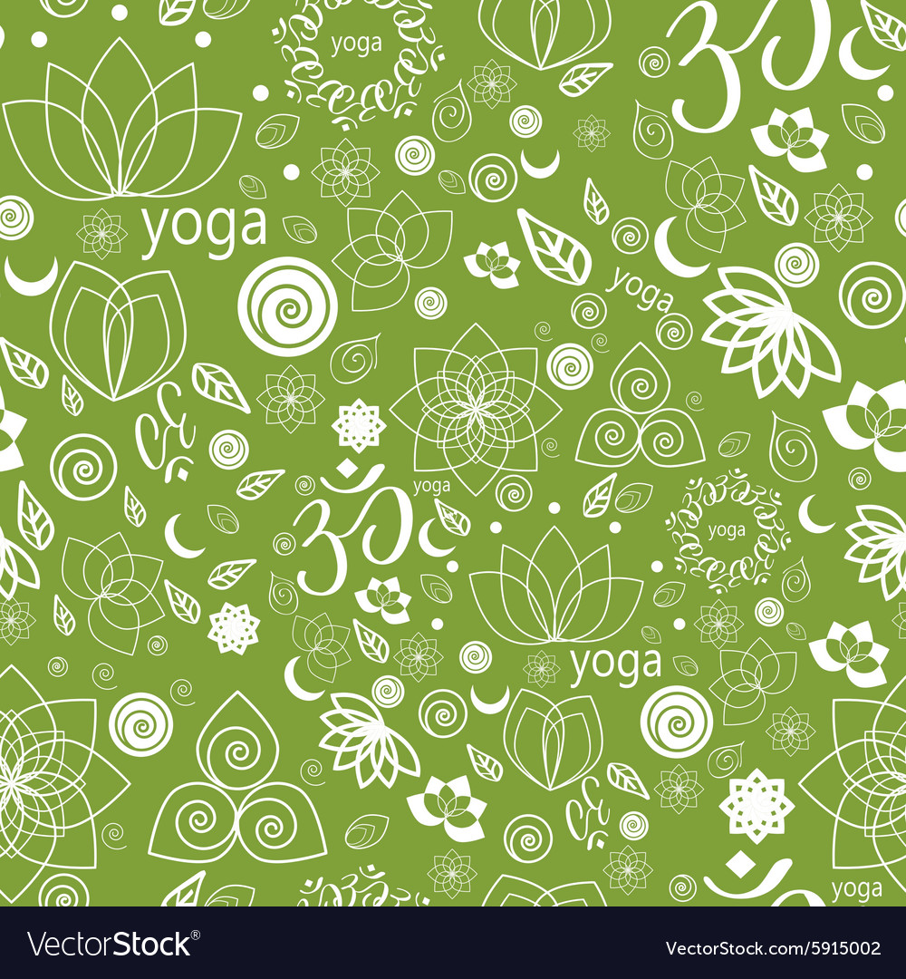 Yoga labels and icons seamless pattern vector